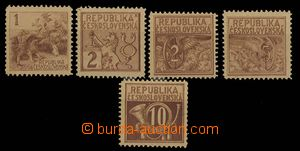 27662 - 1918 set 5 pcs of stamps (labels ?) in brown color with mark