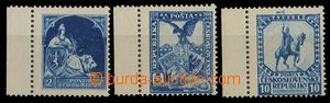 27663 - 1918 3 pcs of designes stamps in blue color with value 2, 5,