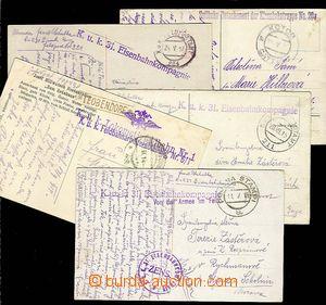 27696 - 1914-17 sestava 5ks pohlednic s razítky železničních jed