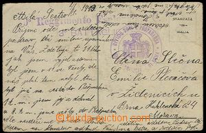27718 - 1919 ITALY  postcard sent by member of Czechosl. army 4.1.19