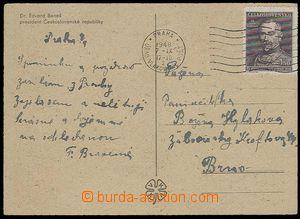 27728 - 1948 postcard with MC PRAGUE RAILWAY POST OFF./ 1948/ 7.IX.,