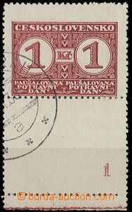 27824 - 1935 Pof.PD9B KD, stmp with lower coupon and plate number 1,