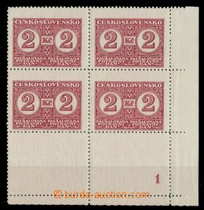 27825 - 1935 Pof.PD10B KD, LR corner blk-of-4 with Pl 1, both margin