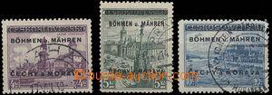27855 - 1939 Pof.17-19, koncové hodnoty, dobrá razítka, 2x zk. Gi