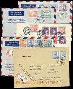 27858 - 1946-49 sestava 5ks leteckých dopisů, část frankováno L