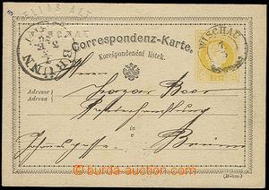 27890 - 1876 forerunner of perfins - PC 2 Kreuzer yellow, Mi.P18 wit