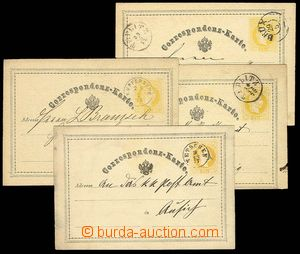 27892 - 1872-73 yellow comp. 4 pcs of PC 2 Kreuzer, Mi.P1 with very