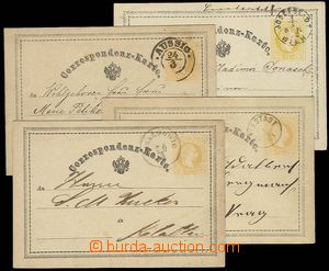 27897 - 1870-72 comp. 4 pcs of yellow, Mi.P1 with CDS Horaždowitz,