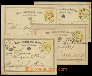 27899 - 1872-74 4 pcs of yellow, Mi.P18 with CDS Göding, Prag, Ther