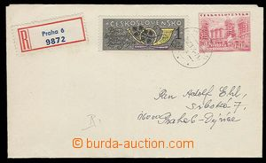 27929 - 1974 CZA2 sent as Reg with uprated by. 1Kčs, thin/light CDS
