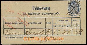27941 - 1873 podací lístek na telegram hodnoty 5Kr, Mi.TA1, známk