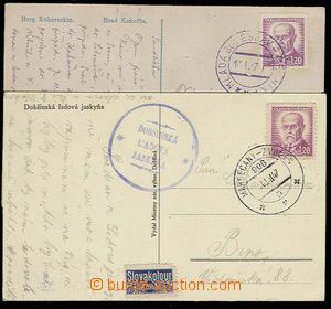 27945 - 1947 train post č.906a MARGECANY - ZVOLEN/ 10.VII.47, paid/f