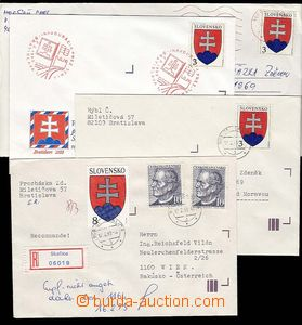 27951 - 1993 4 pcs of letters franked with. first Slovak stamp., Zsf
