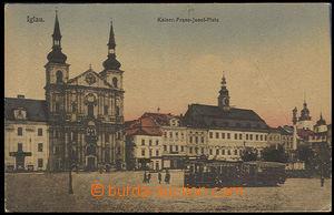 28004 - 1918 Jihlava -  náměstí, tramvaj, prošlá, pěkná