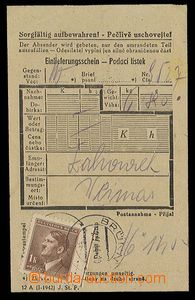 28020 - 1944 C.C. BUCHENWALD  certificate of mailing for parcel with