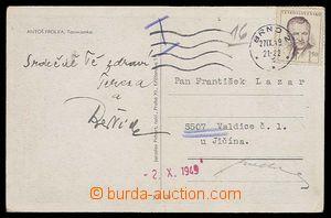 28021 - 1949 Valdice  vyfr. pohlednice zaslaná na vězně Valdické
