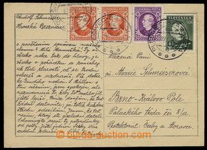 28029 - 1939 card to Protectorate with multicolor franking postage s