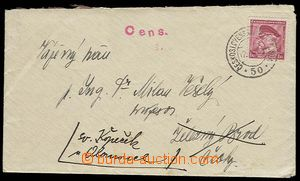 28041 - 1938 letter incl. content with 1CZK T. G. Masaryk with CDS C