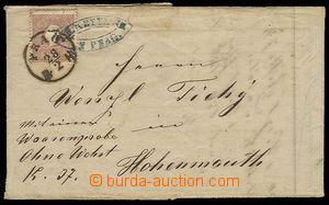 28054 - 1860 skládaná faktura prošlá poštou, vyfr. zn. 10Kr, MI