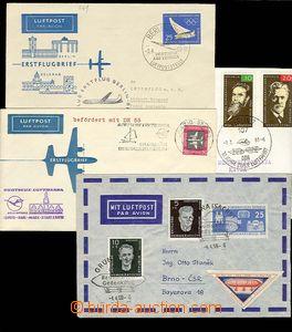 28128 - 1958-65 GERMANY - GDR  3 pcs of envelopes 1. flight, Leipzig