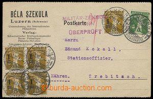 28152 - 1915 firemní lístek zaslaný ze Švýcarska do Třebíče