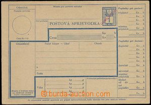 28154 - 1945 Slovak dispatch note with revenue 1Ks and with hand-mad