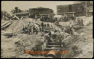 28219 - 1912 LYSÁ NAD LABEM - fotopohlednice, stavba odvodňovacího t