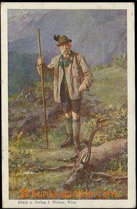 28229 - 1910 Franz-Josef na lovu, barevná malovaná, oficiální ce