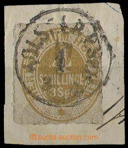 28324 - 1865 Mi.17 on cut-square, complete postmark, c.v.. 100€