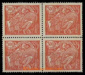 28337 - 1923 Pof.166B, value 300h as blk-of-4 with plate variety lin