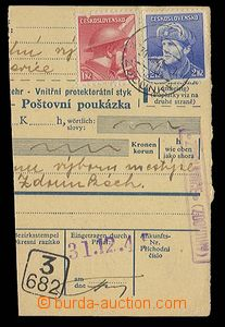28379 - 1945 parcel dispatch card segment with franking and national