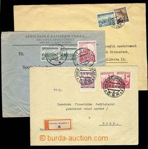 28381 - 1939 3ks se souběžnými smíšenými frankaturami s čs. z