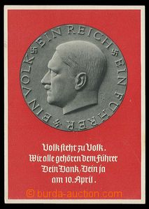 28412 - 1938 Hitler, portrait on/for medallion, large format; Us wit