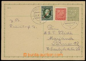 28455 - 1939 CDV65 Czechosl. parallel PC uprated by. mixed franking