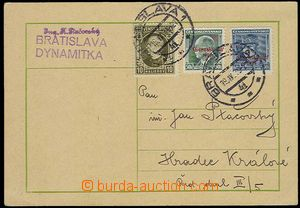 28476 - 1939 commercial PC sent from Bratislava 19.IV.39 to Bohemia-
