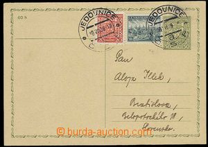28485 - 1939 CDV65 forerunner PC Coat of arms uprated by. Czechosl.