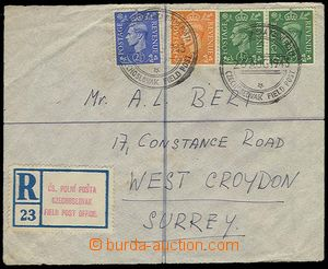 28488 - 1943 Reg letter franked with stamp. 2x ½p, 2p, 2½