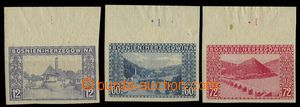 28500 - 1912 Mi.61-3, imperforated, upper marginal pieces with plate