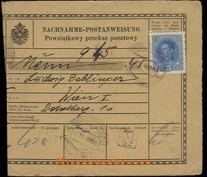 28589 - 1918 větší část dobírkové peněžní poukázky v něm