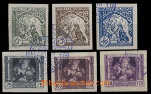 28596 - 1919 Pof.27-32Nq, complete set of imperforated stmp with ove