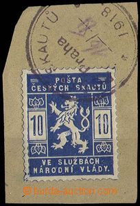 28598 - 1918 10h blue on cut-square with cancel. Post of Scouts / Pr