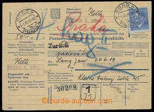 28619 - 1945 TEREZÍN  celá poštovní poukázka zaslaná do Terez�