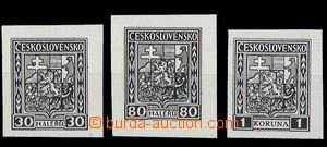 28646 - 1927 black prints stamp. Coat of arms values 30h, 80h and 1C