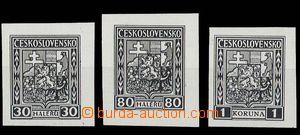 28646 - 1927 černotisky zn. Znak hodnoty 30h, 80h a 1Kč pro zálep