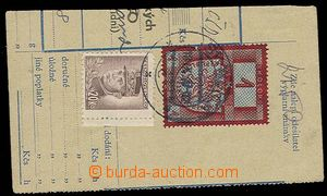 28724 - 1947 cut parcel dispatch-note franked with. mixed franking f