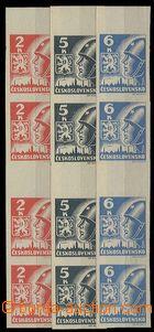 28734 - 1945 Košické  svislé 4-známkové meziarší, 6K ve svět