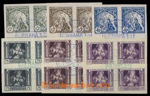 28806 - 1919 Pof.27-32Nq, imperforate blocks of four with overprint/