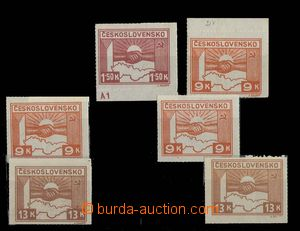 28835 - 1945 comp. 6 pcs of stamp. with plate variety, Pof.353 plate