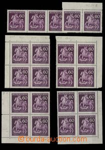 28899 - 1943 Pof.102, Postilion, sestava 4ks 4-bloků a 2ks pásek s