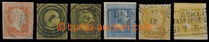 28934 - 1850 comp. 6 pcs of stamp. Mi.1, 2x 4, 7, 8, 12, nice postma